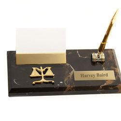Personalized Luxurious Marble Legal Business Card Holder with Pen
