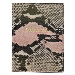 Personalized Passport Holder in Pink Embossed Python Leather
