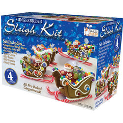 Gingerbread Kit for 4 Sleighs with Jelly Santas