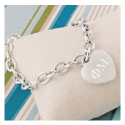 Greek Personalized Heart Charm Bracelet