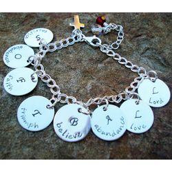 Acrostic Poem Hand Stamped Sterling Silver Charm Bracelet