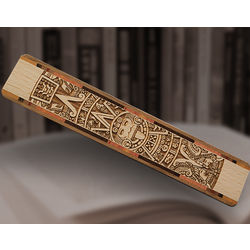 Aztec Calendar Engraved Wood Bookmark