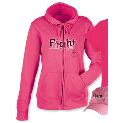 Fight Like A Girl Breast Cancer Zip Up Hoodie