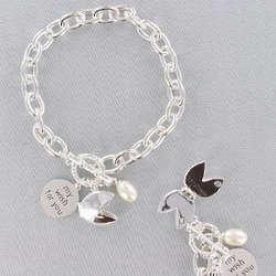 Silvertone Fortune Cookie Bracelet