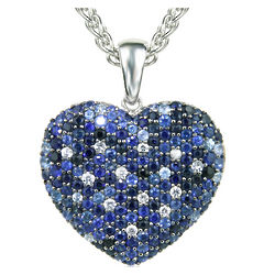 Balissima Sapphire Heart Pendant in Sterling Silver