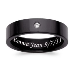 Men's Black Titanium Cubic Zirconia Engraved Message Band
