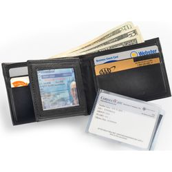 Soft Leather Billfold with Removable Transparent Inserts