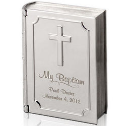 Silver Personalized Baptism Bible Keepsake Box