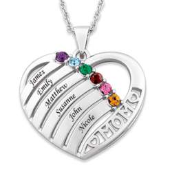 Sterling Silver Mom's Birthstone and Name Heart Necklace