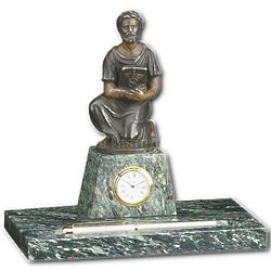 Hippocrates Medical Statue Clock and Pen Tray