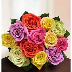 Assorted Roses for Romance Bouquet with Bear