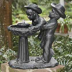 Cowboy and Cowgirl Outdoor Fountain