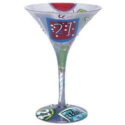 Handpainted 21 Martini Glass