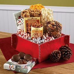 Snowtime Popcorn and Holiday Treats Gift Basket