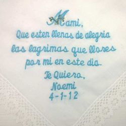 """Que Esten Ileanas De Alegria"" Personalized Spanish Wedding Hanky"