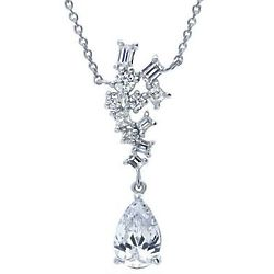 Pear Cut Cubic Zirconia Cluster Sterling Silver Pendant Necklace