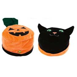 Reversible Black Cat and Pumpkin Hat