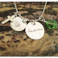 Charmed Blessings Hand Stamped Sterling Silver Necklace