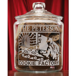 Personalized Cookie Factory Theme Etched Glass Cookie Jar