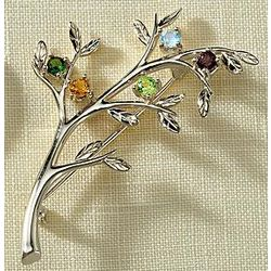 Family Tree Birthstone Brooch with One Stone