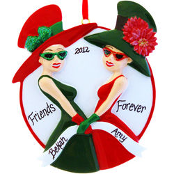 Best Friends Big Hats Sunglasses Ornament