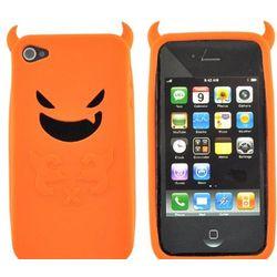 Orange Lil Monster with Horns Apple iPhone 4 Soft Gel Skin Case
