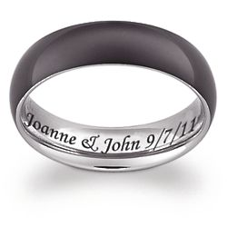 Men's Titanium Two Tone Black Engraved Message Band
