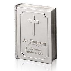 Silver Personalized Christening Bible Keepsake Box