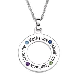 Sterling Silver Family Name and Birthstone Disc Necklace