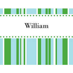 Green and Blue Stripes Personalized Note Cards