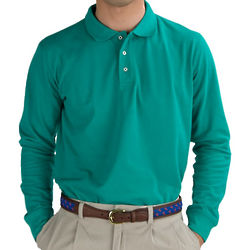 Emerald Green Long Sleeve Solid Pique Polo Shirt