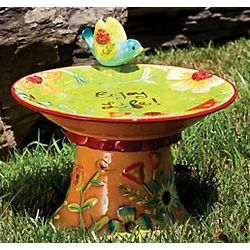 Field of Flowers Bird Bath Garden Statue