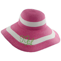 Pink Personalized Striped Sun Hat