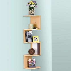 Oak Color Corner Shelves