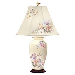 Hummingbird and Floral Garden Ginger Jar Lamp