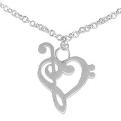 Sterling Silver Music of Love Anklet