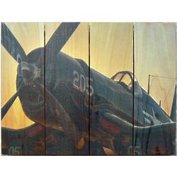 "Corsair Airplane Indoor/Outdoor 22"" Art on Wood"