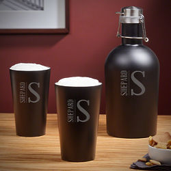 Elton Personalized Stainless Steel Growler and Pint Glass Duo Set