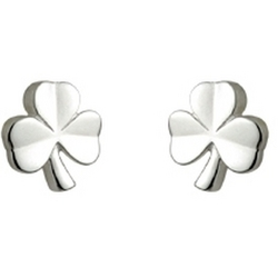 Kid's Sterling Silver Shamrock Stud Earrings