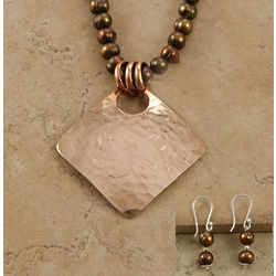 Diamond Copper Pendant on Natural Pearl Strand with Earrings