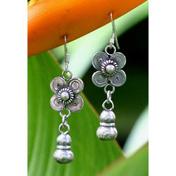 Sterling Silver Siamese Beauty Floral Earrings