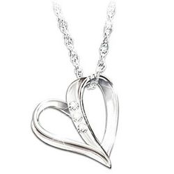 My Granddaughter, My Heart, My Love Three Diamond Pendant