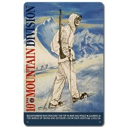 10th Mountain Division Metal Ski Sign