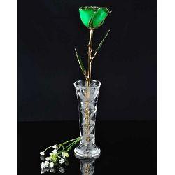 24 Karat Gold Trimmed Green Rose with Crystal Vase