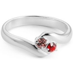 Sterling Silver Mother's 2 Birthstone Family Ring