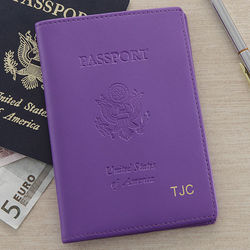 Personalized Purple Leather World Traveler Passport Cover