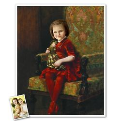 Classic Painting Young Girl with Doll Personalized Art Print