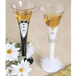 Bride and Groom Champagne Formal Wear Flutes