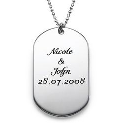 Personalized Script Dog Tag Necklace in Sterling Silver