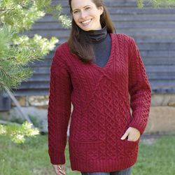 Women's Irish V-Neck Sweater